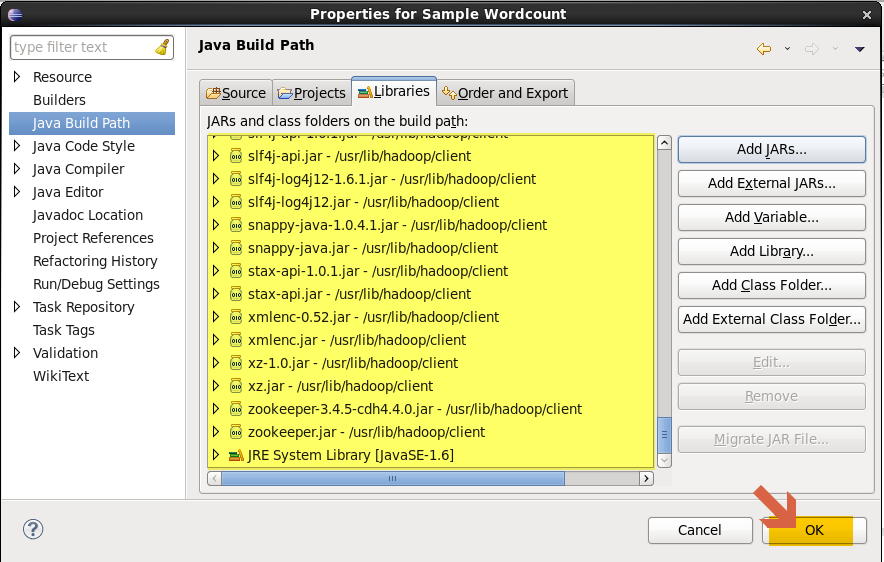 JAR files for Hadoop MapReduce WordCount program