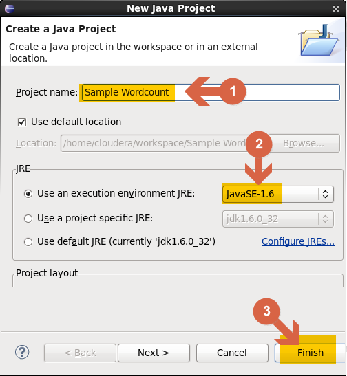 Create project in Eclipse for Hadoop MapReduce WordCount