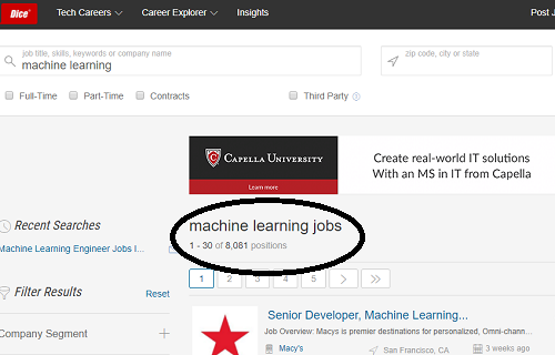 Machine Learning  Job Listings on Dice