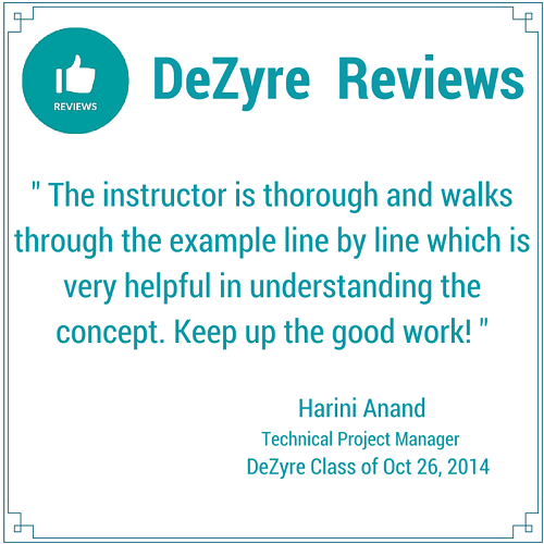 DeZyre Reviews: Online Hadoop Training Class of Oct 26 2014