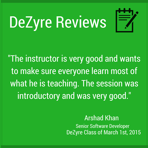 DeZyre Reviews: Online Hadoop Training Class of Mar 1 2015