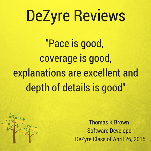 DeZyre Reviews: Hadoop Training Online Class of Apr 26 2015