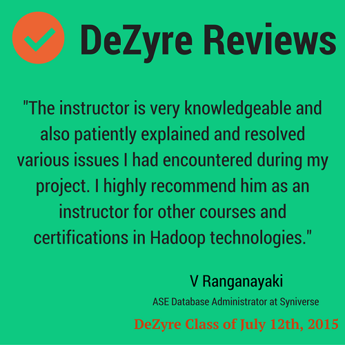 DeZyre Reviews: Hadoop Training Online Class of July 12 2015