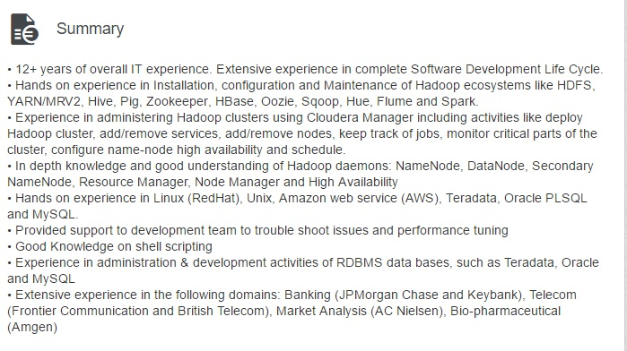 Linkedin Profile Summary For Hadoop Jobs  Hadoop Developer Resume