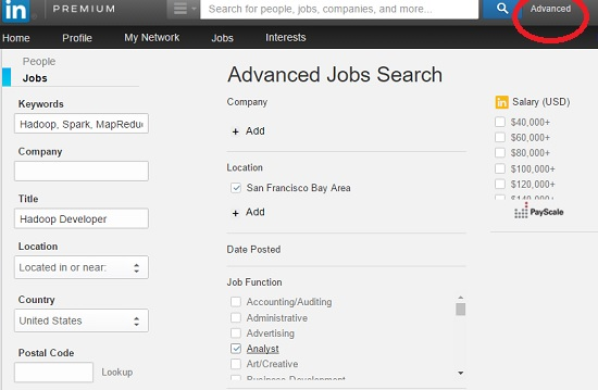 Advanced Hadoop Job Search on LinkedIn