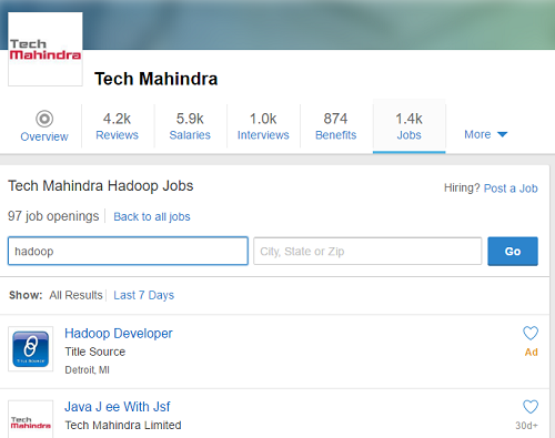Tech Mahindra Hadoop Jobs