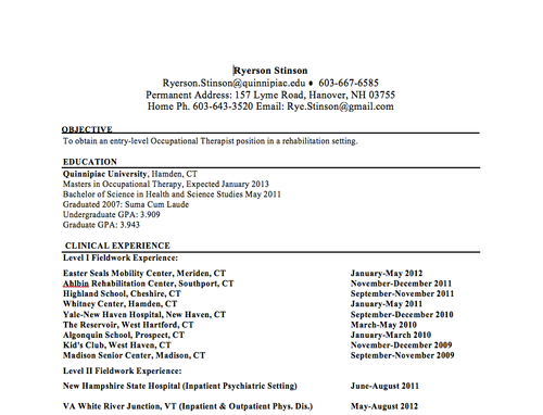 resumeacademic educational data resume occupational therapy splinting