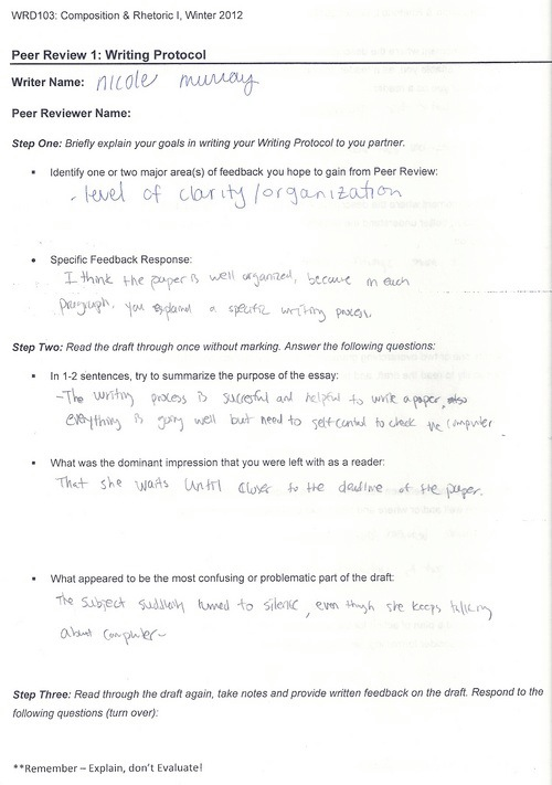 Printables Peer Review Worksheet digication e portfolio nicole murrays for wrd103 user uploaded content