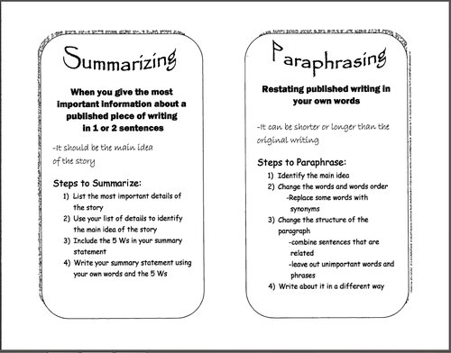 Printables Summarizing Worksheets digication e portfolio felegi janelle senior summarizingparaphrasing worksheet