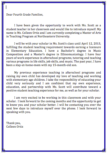 letter to parent from student teacher