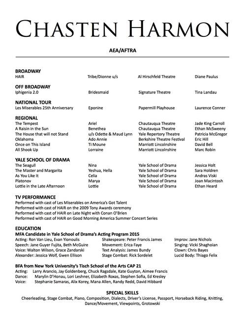 digication e portfolio chasten harmon actor resume