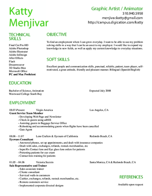computer animation resume sles on resume