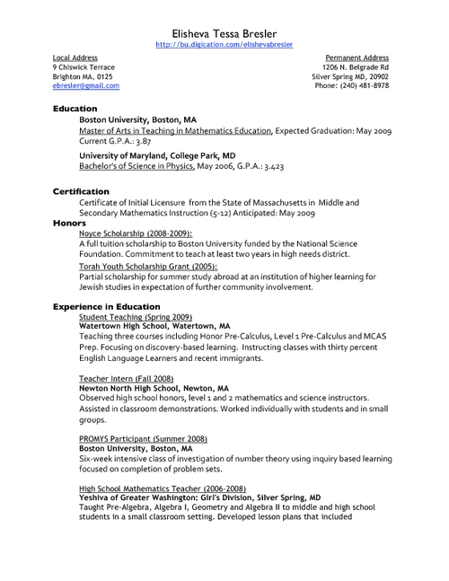 resume and references - Resume With References