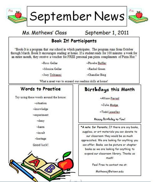 Sample: September Newsletter  Example Of A News Letter