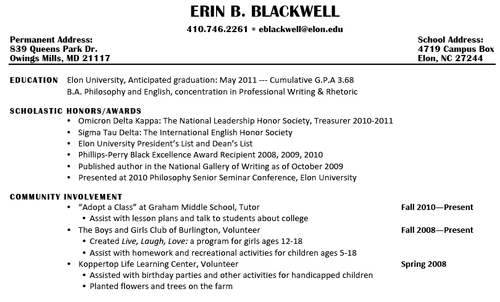 Digication E Portfolio :: Erin Blackwell: Professional Writing And Rhetoric  Senior Portfolio :: Resumé  Resume Personal Interests