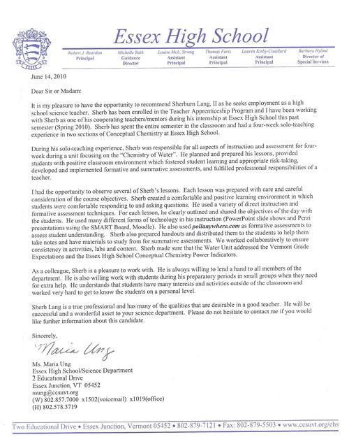 Sample Reference Letter For A Science Teacher Cover Letter Examples – Teacher Recommendation Letter