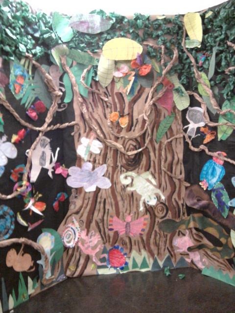 Rainforest made by elementary students