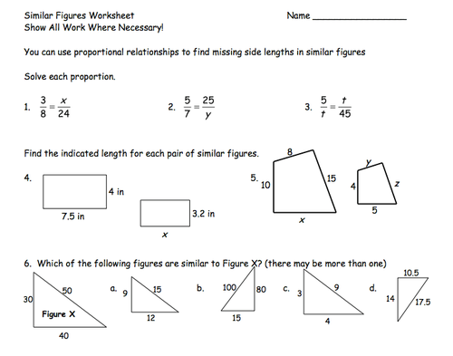 Printables Similar Figures Worksheet similar figure worksheet davezan