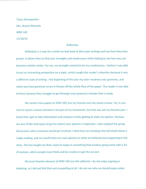 Digication ePortfolio Experience of College Writing – Reflective Essay