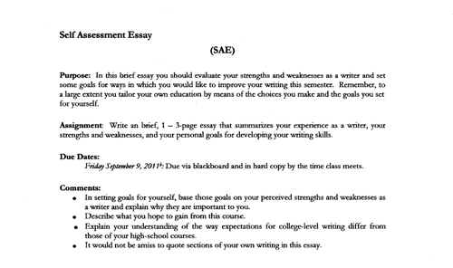 how to write self assessment essay