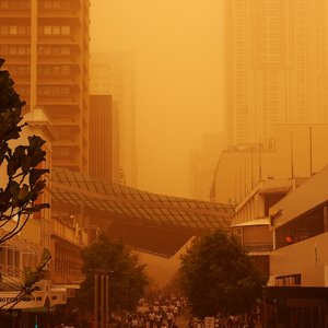 Downtown Brisbane in the dust storm