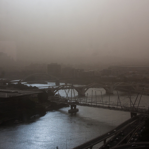 Dust storm over the Brisbane River