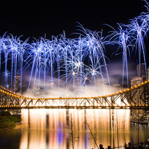 Curtain of fireworks on the Story Bridge