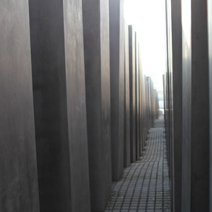 Walking through the field of stelae of the Holocaust Memorial