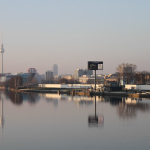 View of Berlin and Berlin Wall over the Spree River