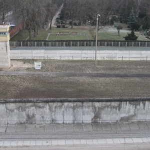 Berlin Wall Memorial with death strip separating East and West Berlin
