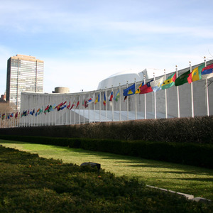 Flags in front of the United Nations