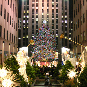 Angels heralding the Christmas tree at Rockefeller Center