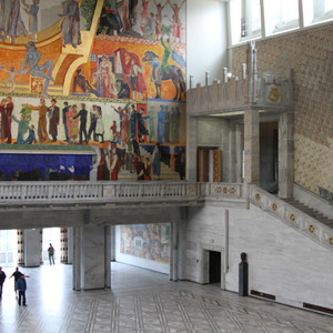 Oslo City Hall great hall and staircase