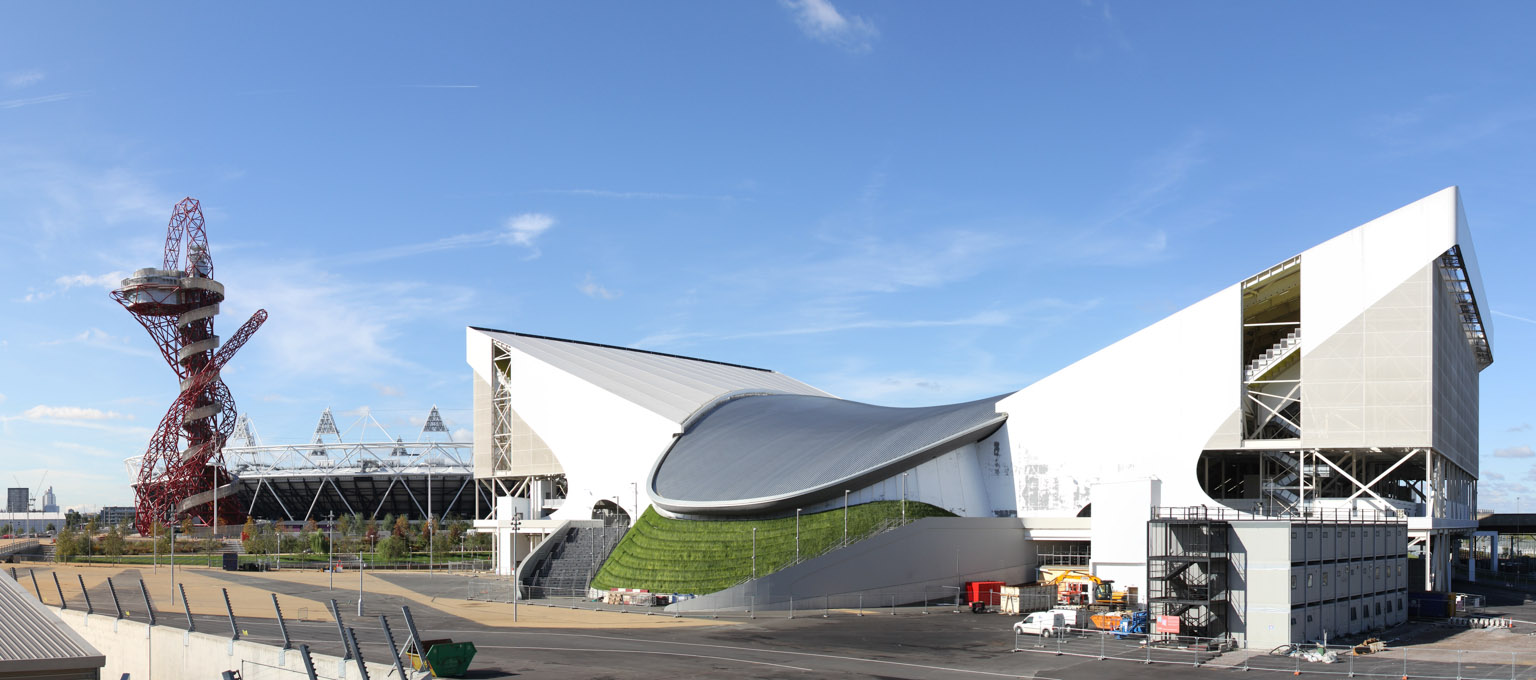 View of Aquatics and Athletics centres, London Olympic Park