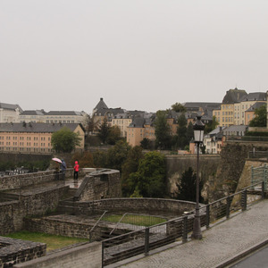 View across Bock fortifications to the city walls