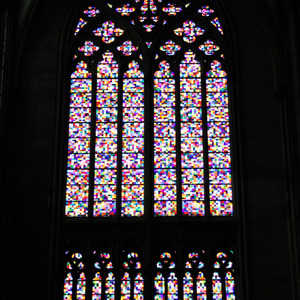 Pixelated stained glass window, Köln Cathedral