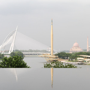View of Seri Wawasan Bridge and Putra Mosque from the Iron Mosque