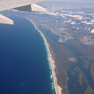 Flying over the Gold Coast