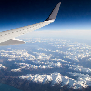 Flying over the South Island of New Zealand