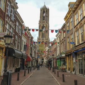 Street leading to Bell Tower of the Utrecht Cathedral