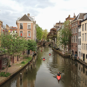 Kayakers on the Oudegracht canal