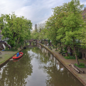 Oudegracht canal with the cathedral bell tower, Utrecht