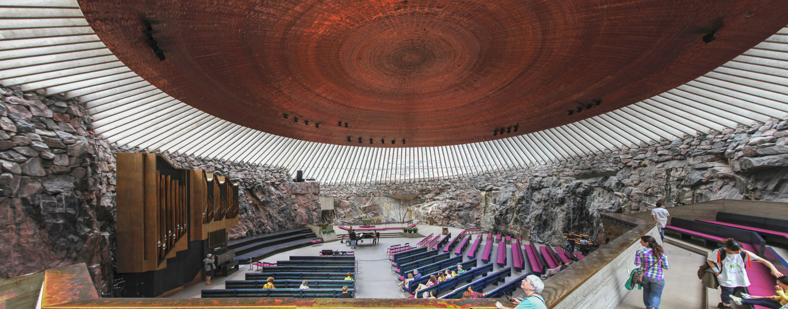 Panoramic view of interior of Temppeliaukio Church, Helsinki