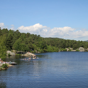 People swimming in a lake, Baneheia Park, Kristiansand