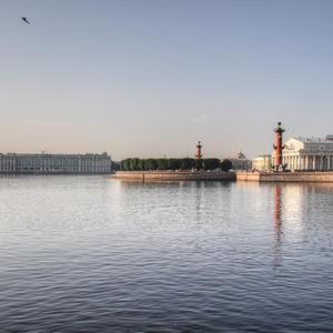Winter Palace and columns on Neva River