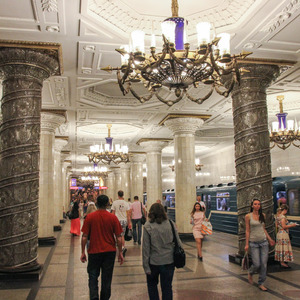St Petersburg metro station with glass columns