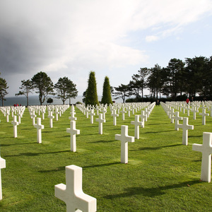 Crosses marking the graves of American soldiers who died in Normandy