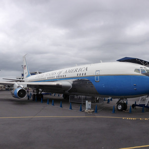 Air Force One with the first Boeing 747 in the background