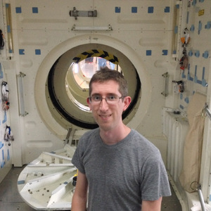 Me in front of the Space Shuttle airlocks