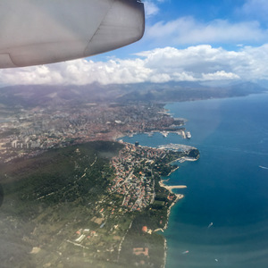 Unexpectedly pretty effects from the airplane window when flying into Split